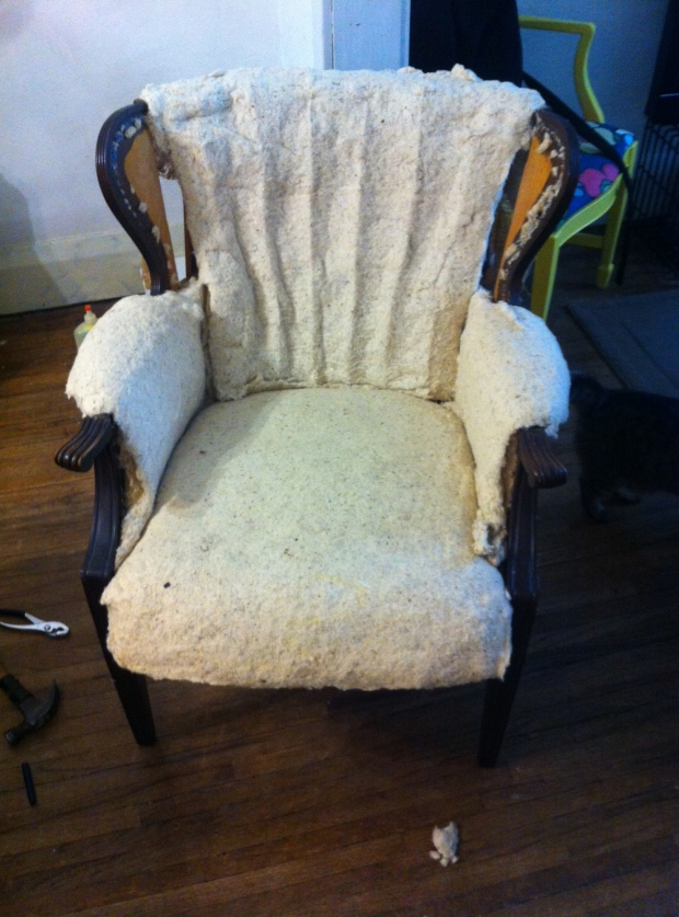 No more fabric on the channel-wing back chair!